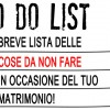 Il matrimonio: la NOT-TO-DO list